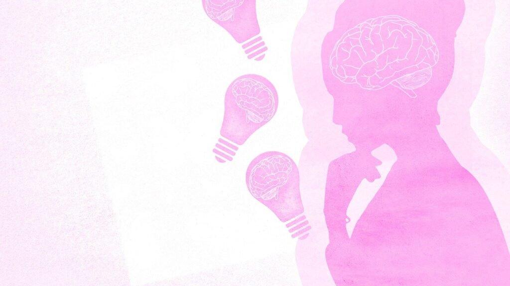 lady, brain, pink
